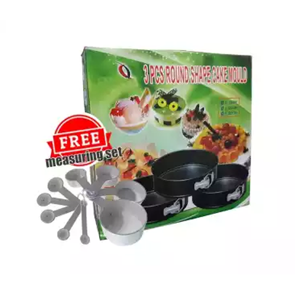 Round Shape Cake Mould 3 pcs (Free Measuring Set)
