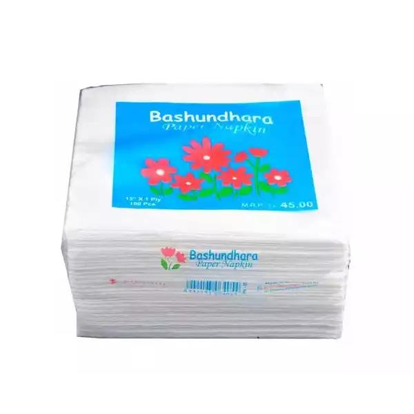 "Bashundhara Paper Napkins Tissue 13"" Unscented (100 pcs)"
