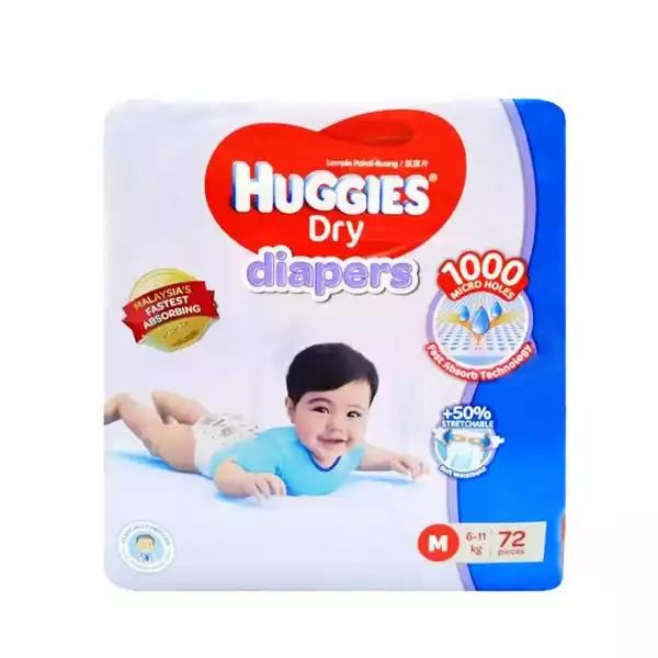 Huggies Dry Baby Diaper Belt M 6-11 kg (72pcs)