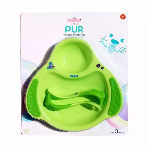 Pur Baby Walrus Plate Set Green (6 months+) (R.5501) 1 set (1pcs)