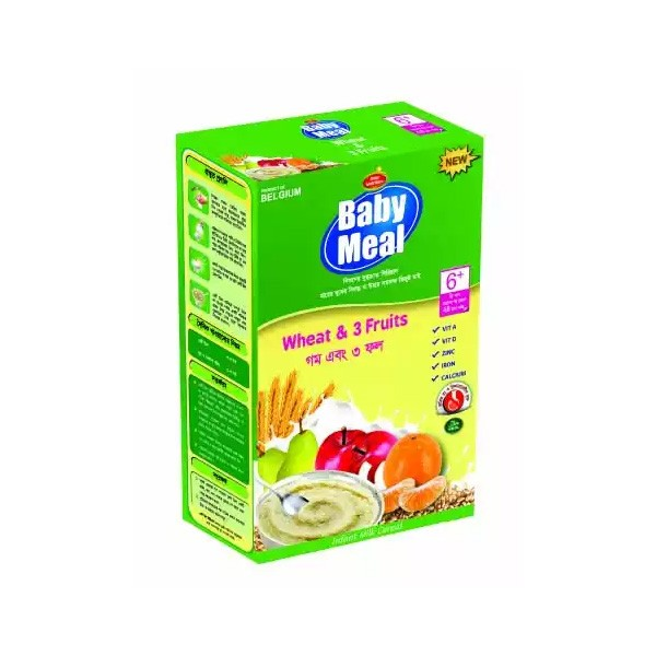 Baby Meal Infant Milk Wheat & 3 Fruits Cereal BIB (6 - 24 Months) (350gm)