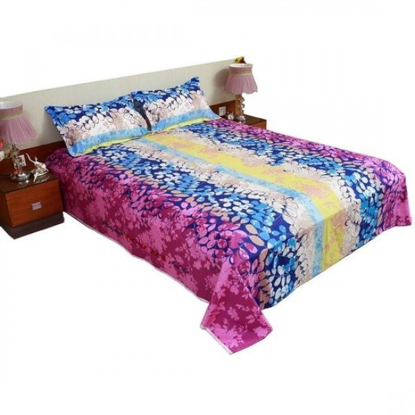 King Size Cotton Bed Sheet With Matching 2 Pillow Covers - Multicolor - Bd008
