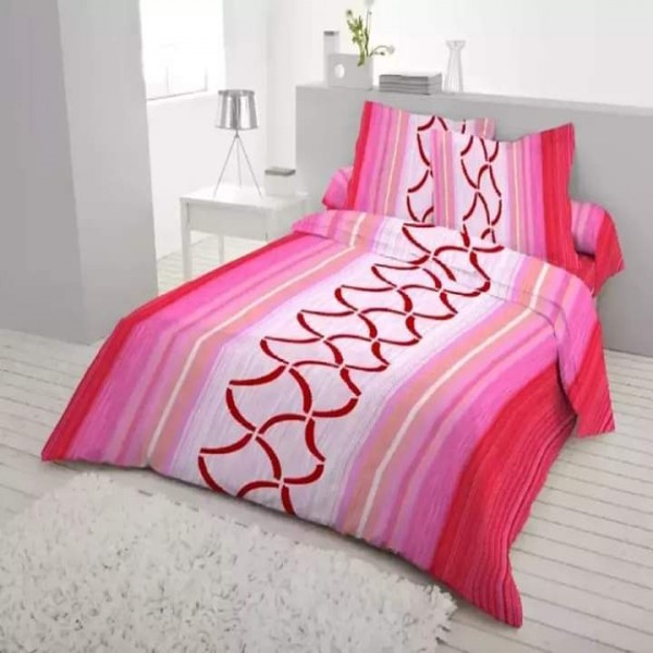 King Size Cotton Bed Sheet With Matching 2 Pillow Covers - Multicolor - Bd0018