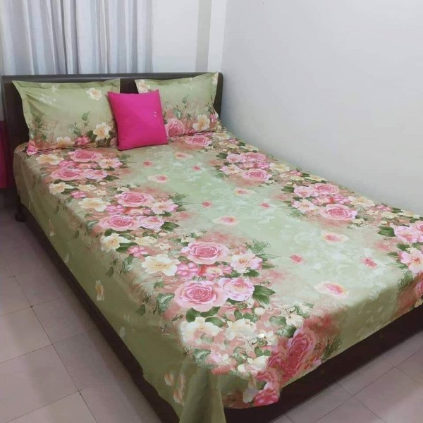King Size Cotton Bed Sheet With Matching 2 Pillow Covers - Multicolor - Bd0028