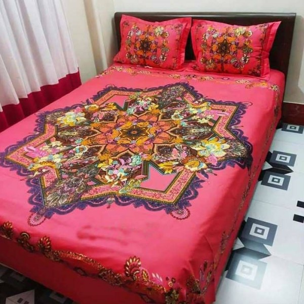Double Size Panel Cotton Bed Sheet With 2 Pillow Covers - Multicolor - Bds0017