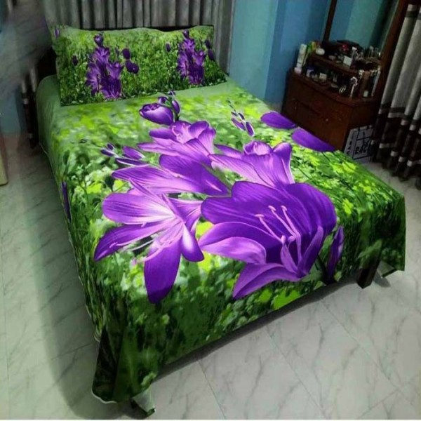 Double Size Panel Cotton Bed Sheet With 2 Pillow Covers - Multicolor - Bds0068