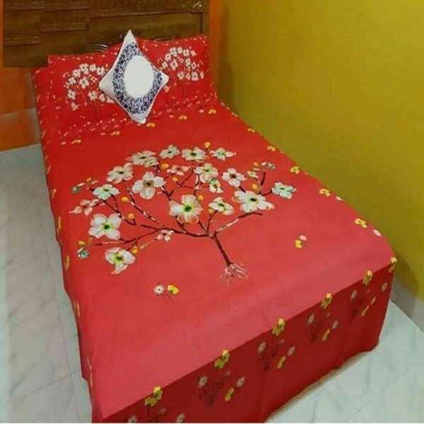 Double Size Panel Cotton Bed Sheet With 2 Pillow Covers - Multicolor - Bds0021