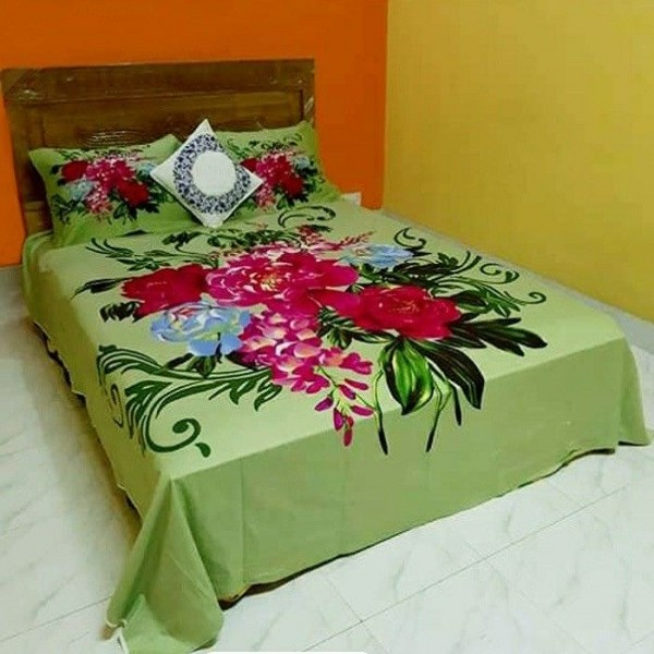 Double Size Panel Cotton Bed Sheet With 2 Pillow Covers - Multicolor - Bds001