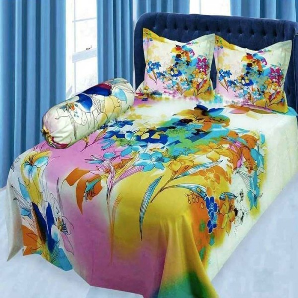 Double Size Panel Cotton Bed Sheet With 2 Pillow Covers - Multicolor - Bds0053