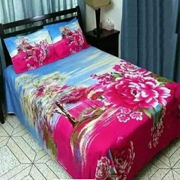 Double Size Panel Cotton Bed Sheet With 2 Pillow Covers - Multicolor - Bds0043