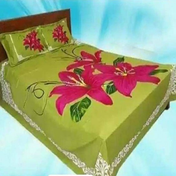 Double Size Panel Cotton Bed Sheet With 2 Pillow Covers - Multicolor - Bds003