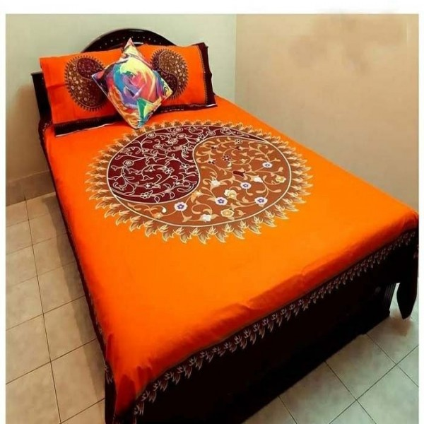 Double Size Panel Cotton Bed Sheet With 2 Pillow Covers - Multicolor - Bds0056