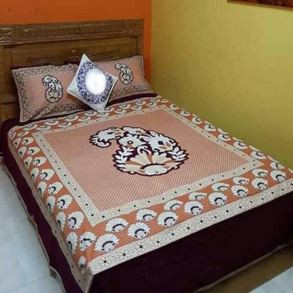 Double Size Panel Cotton Bed Sheet With 2 Pillow Covers - Multicolor - Bds0079