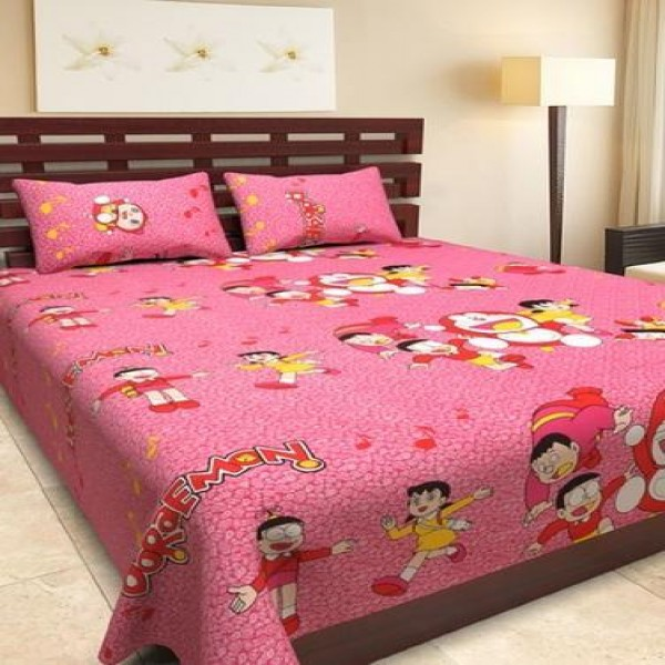 Single Cotton Bed Sheet  With Matching 2 Pillow Covers - Multicolor